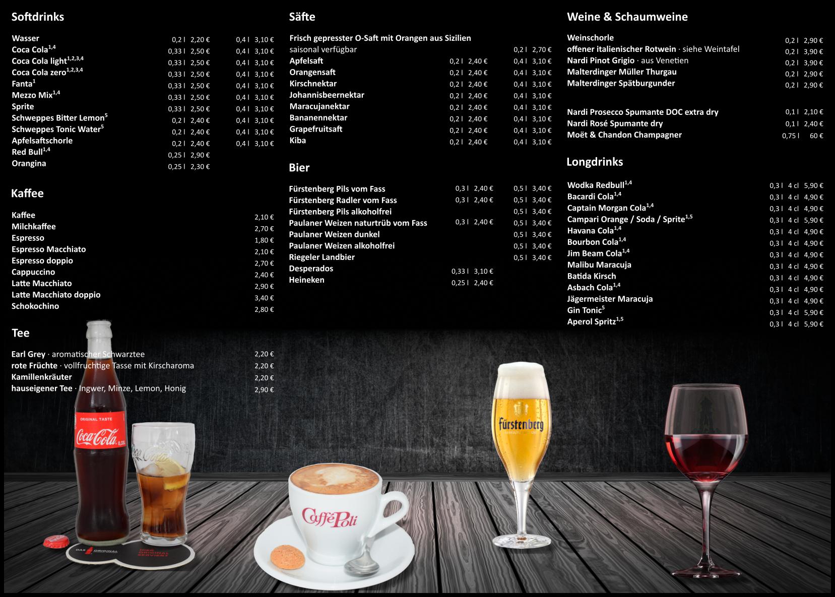 Getränkekarte Seite 1 Blues Bar Restaurant