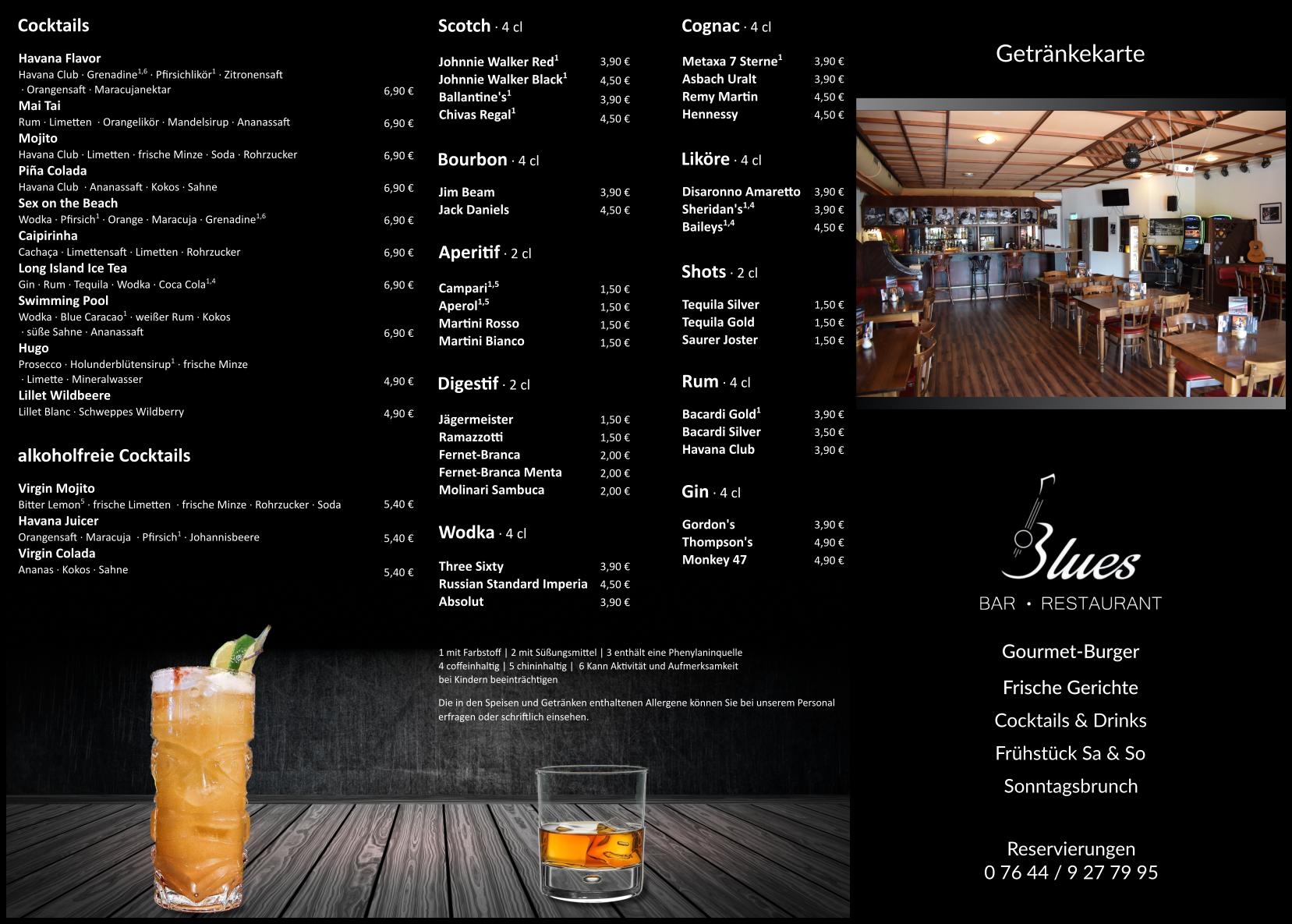 Getränkekarte Seite 2 Blues Bar Restaurant