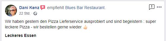 Kundenmeinung Blues Steinofenpizza Lieferservice